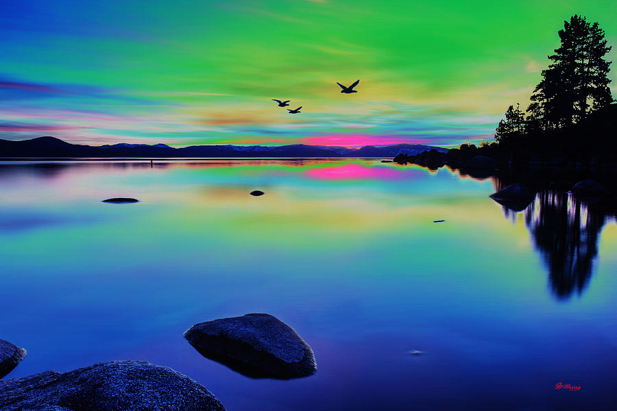 Water Digital Art - Lake Reflections 2 by Gregory Murray