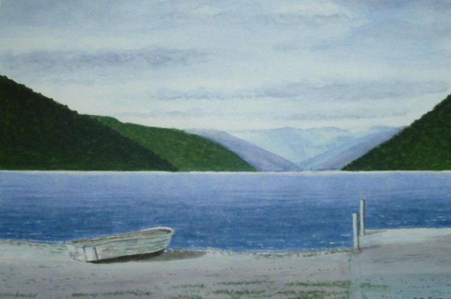 Landscape Painting - Lake Rotoroa, South Island, New Zealand by Peter Farrow
