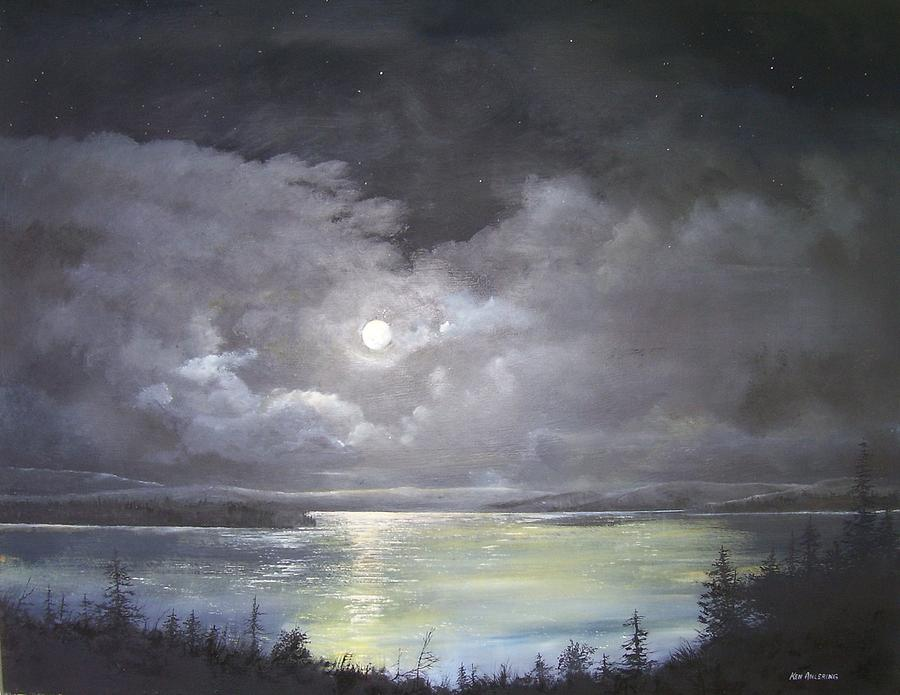 Moonscape Painting - Lake Shore Moonscape  by Ken Ahlering
