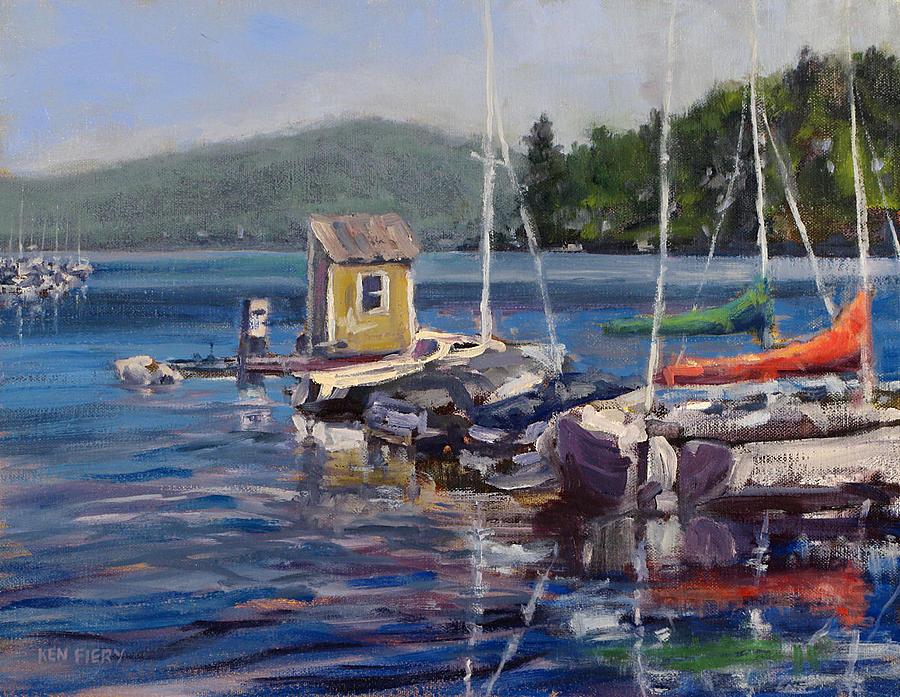 Boats Painting - Lake Sunapee Boat Dock by Ken Fiery