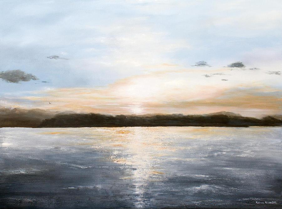 Seascape Painting - Lake Sunset by Katrina Nixon