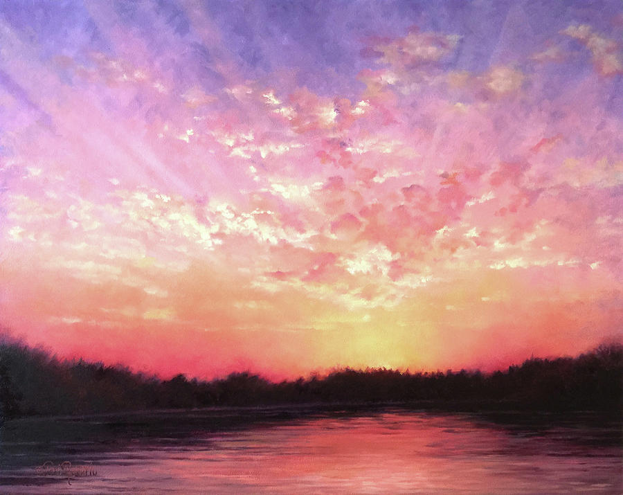 Landscape Painting - Lake Sunset by Teri Rosario