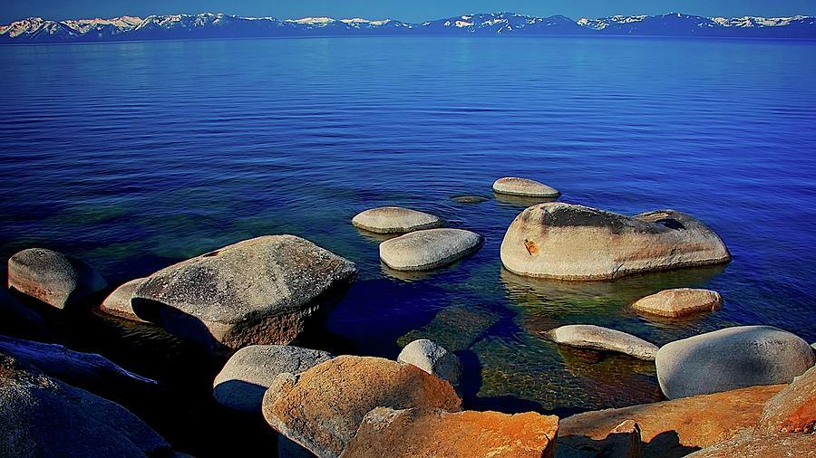 Nature Photograph - Lake Tahoe Blue, California by Zayne Diamond Photographic