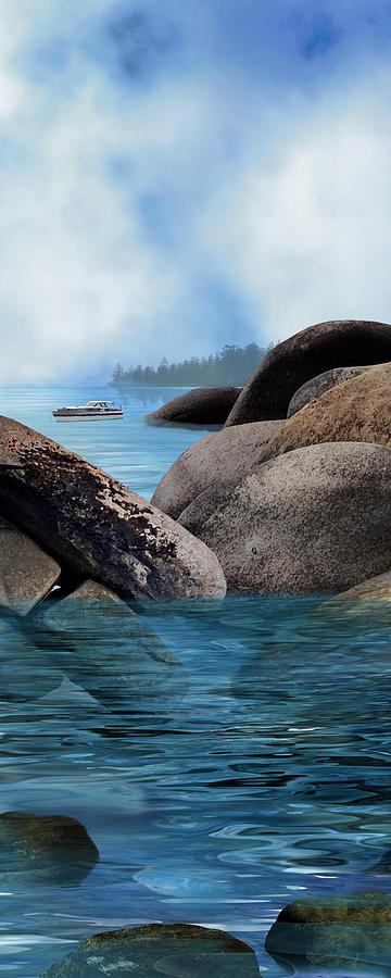 Tahoe Digital Art - Lake Tahoe With Wooden Boat by Julie Rodriguez Jones
