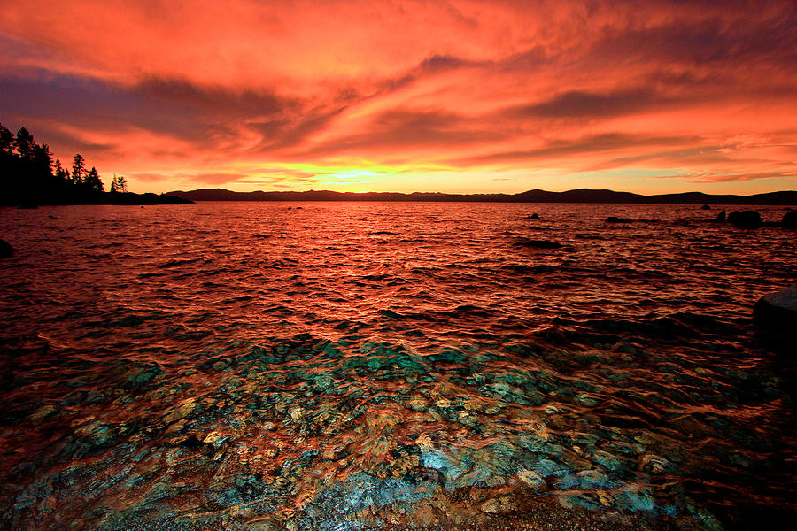 Lake Tahoe Photograph - Lake Tahoe...blood Moon Sunset by Sean Sarsfield
