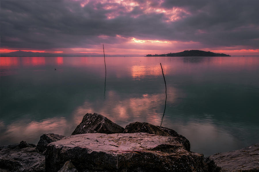 Lake Trasimeno on fire by Matteo Viviani