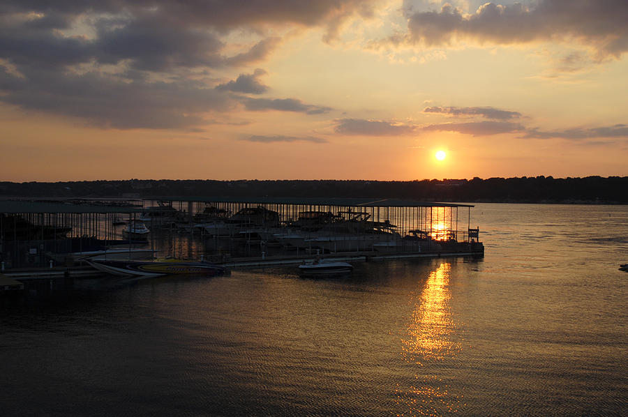 Sunset Photograph - Lake Travis Sunset Over Carlos N Charlies by David Thompson