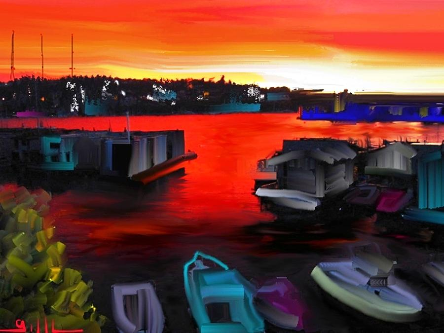 Lake Union Painting - Lake Union Red Sky by Lee Gallaher
