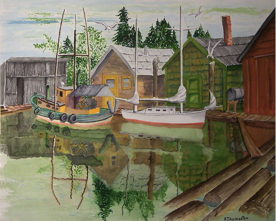 Landscape Painting - lake Union Seattle by Robert Thomaston