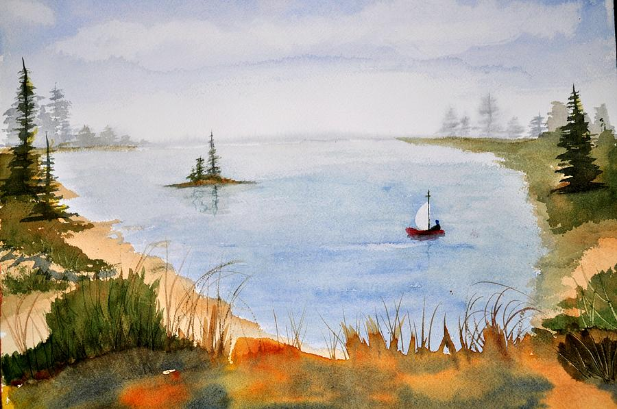 Waterscape Painting - Lake View by Brenda Douglas