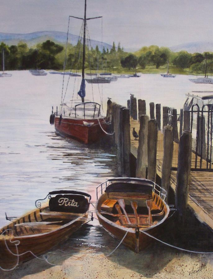 Boats Painting - Lake Windermere by Victoria Heryet