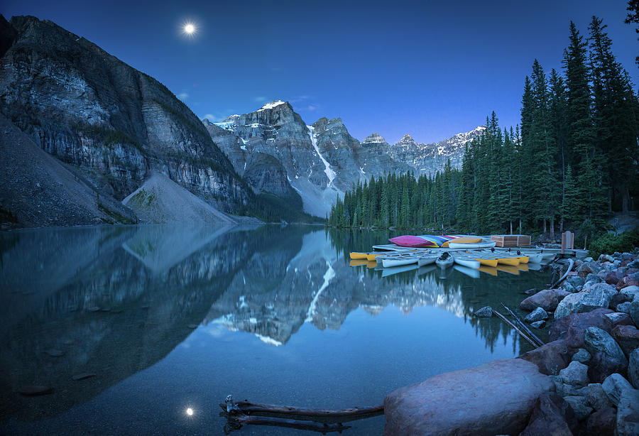 Alberta Photograph - Lake With Moon At Four Am by William Freebilly photography