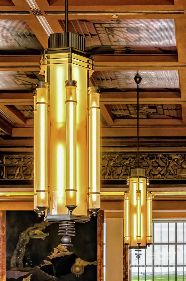 Lakefront Airport Art Deco Chandeliers Photograph