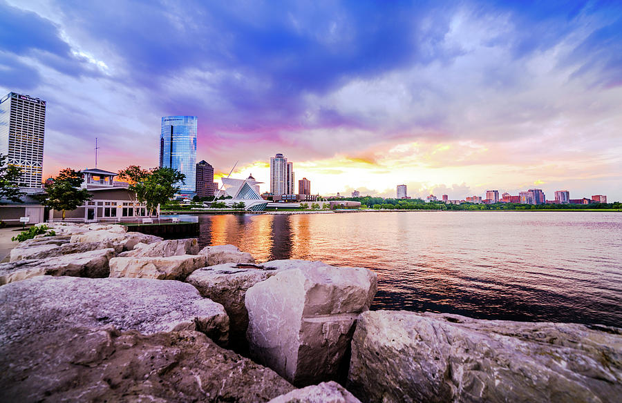 Lakefront Photograph - Lakefront Sunset On Rocks by Vincent Buckley