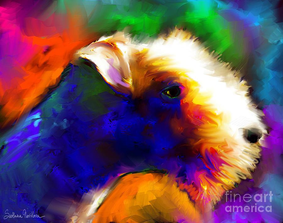 Svetlana Novikova Painting - Lakeland Terrier Dog Painting Print by Svetlana Novikova