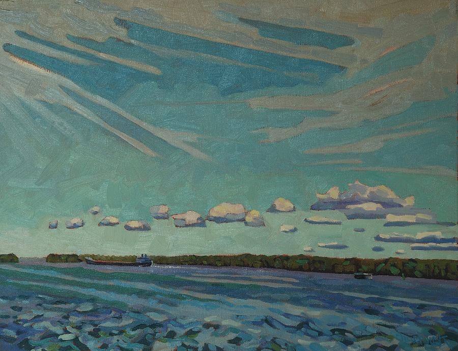 Laker Painting - Laker Headed Downstream by Phil Chadwick