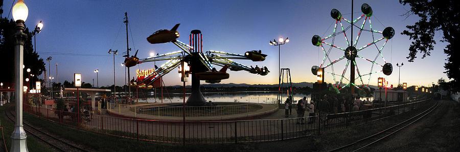Panorama Photograph - Lakeside Amusement Park At Night Panorama Photo by Jeff Schomay