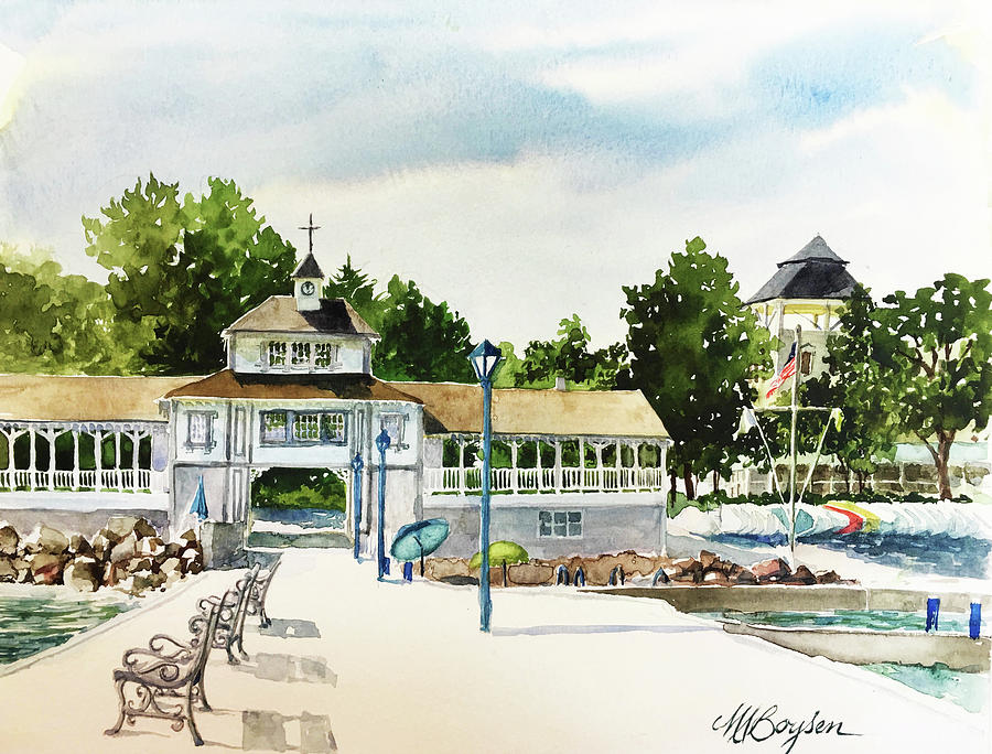 Lakeside Painting - Lakeside Dock And Pavilion by Maryann Boysen