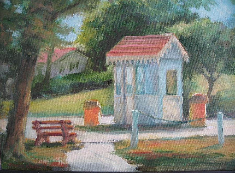 Gatehouse Painting - Lakeside East Gate by Sharon Weaver
