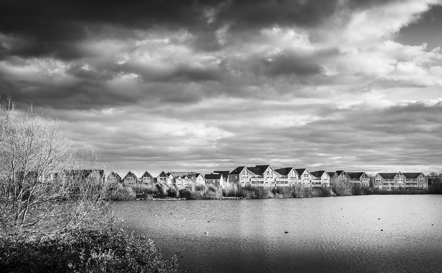 Lake Photograph - Lakeside Houses by Gary Gillette