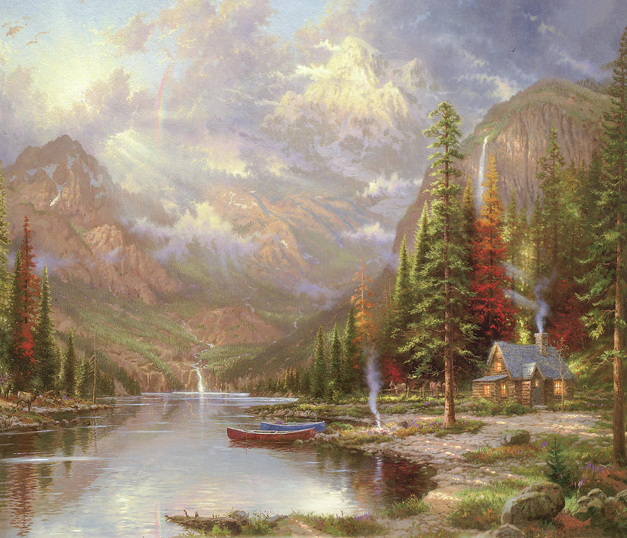 Lakeside Hut By Thomas Kinkade