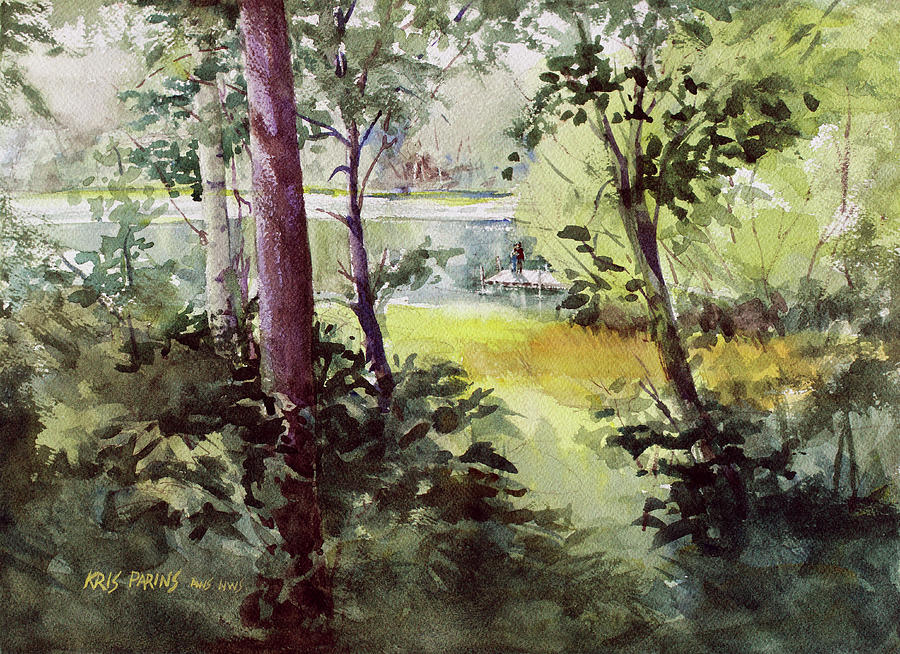 Watercolor Painting - Lakeside Shade by Kris Parins