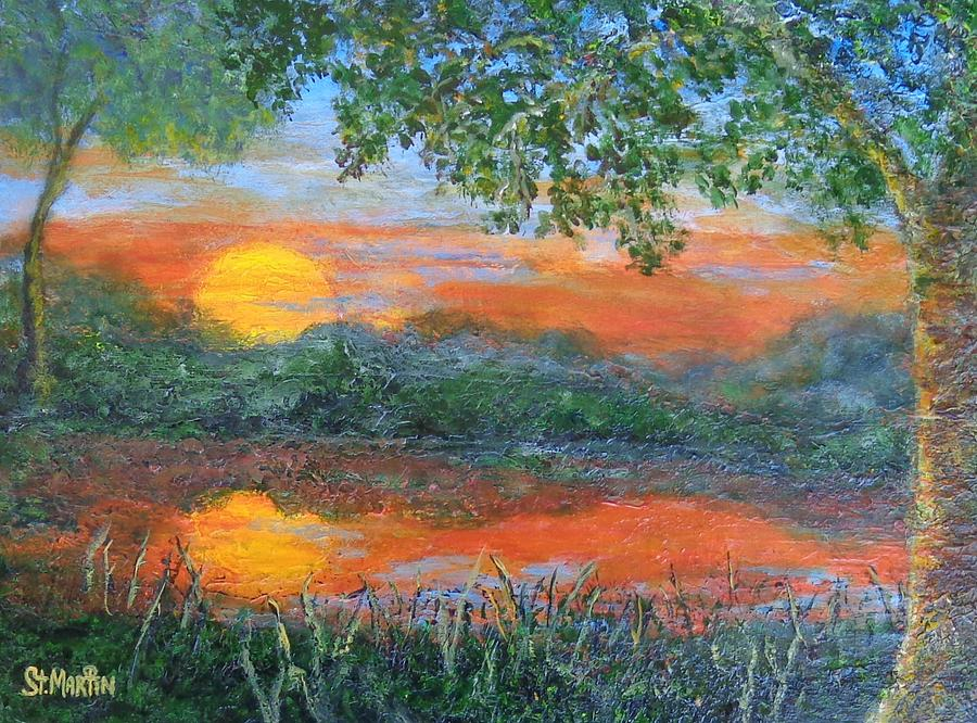 Lakeside Painting - Lakeside Sunset by Annie St Martin