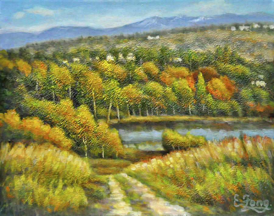Lakeside Painting - Lakeside Trail In Autumn by Eileen  Fong