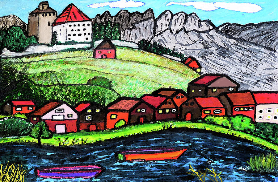 Landscape Drawing - Lakeside View by Monica Engeler