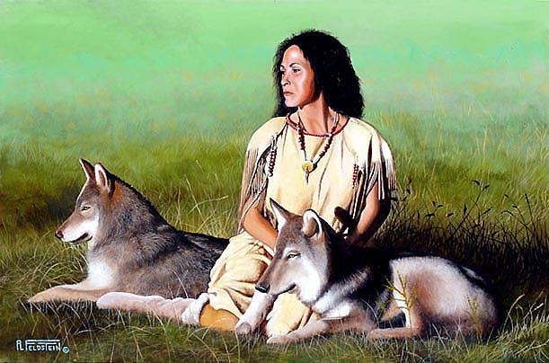 Native American Painting - Lakota Wolf Girl by Al Feldstein