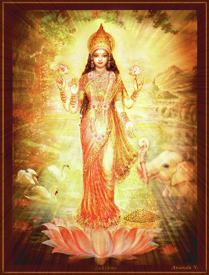 Goddess Mixed Media - Lakshmi Goddess Of Fortune by Ananda Vdovic