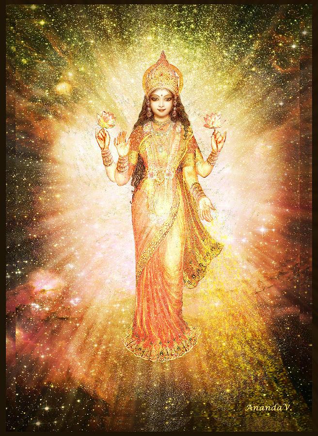 Goddess Painting Mixed Media - Lakshmi In A Galaxy, Radiating Pink Light by Ananda Vdovic