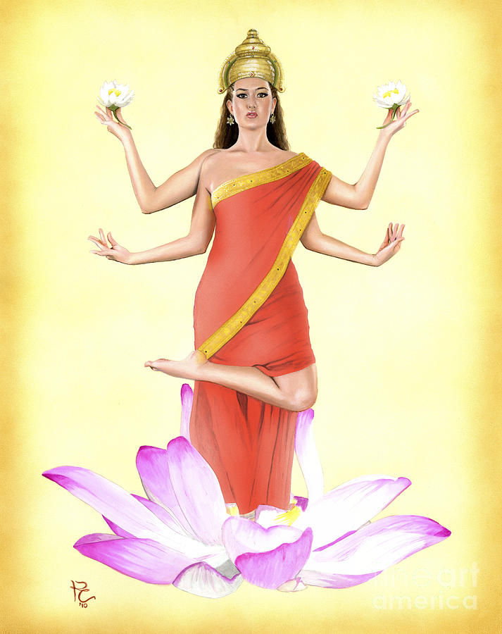 Hindu Painting - Lakshmi by Kevin Clark