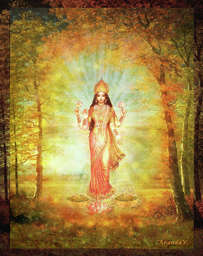 Goddess Mixed Media - Lakshmi Vision In The Forest  by Ananda Vdovic