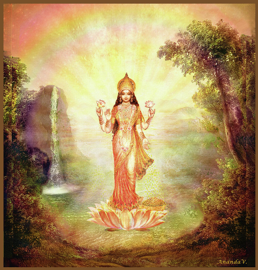 Devi Mixed Media - Lakshmi With The Waterfall by Ananda Vdovic