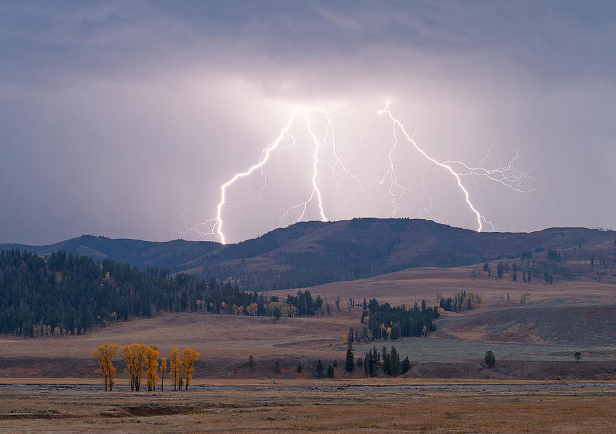 Yellowstone National Park Photograph - Lamar Lightning by Max Waugh