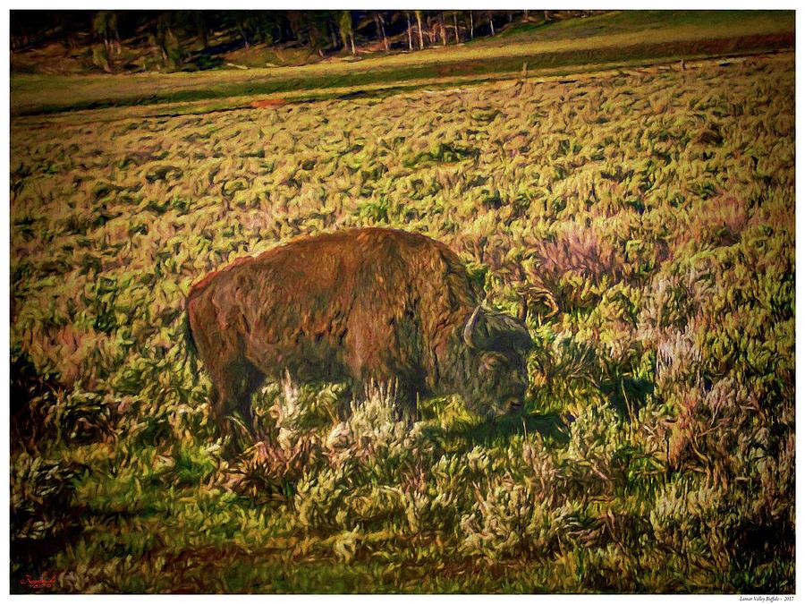 Wyoming Mixed Media - Lamar Valley Buffalo by Rogermike Wilson