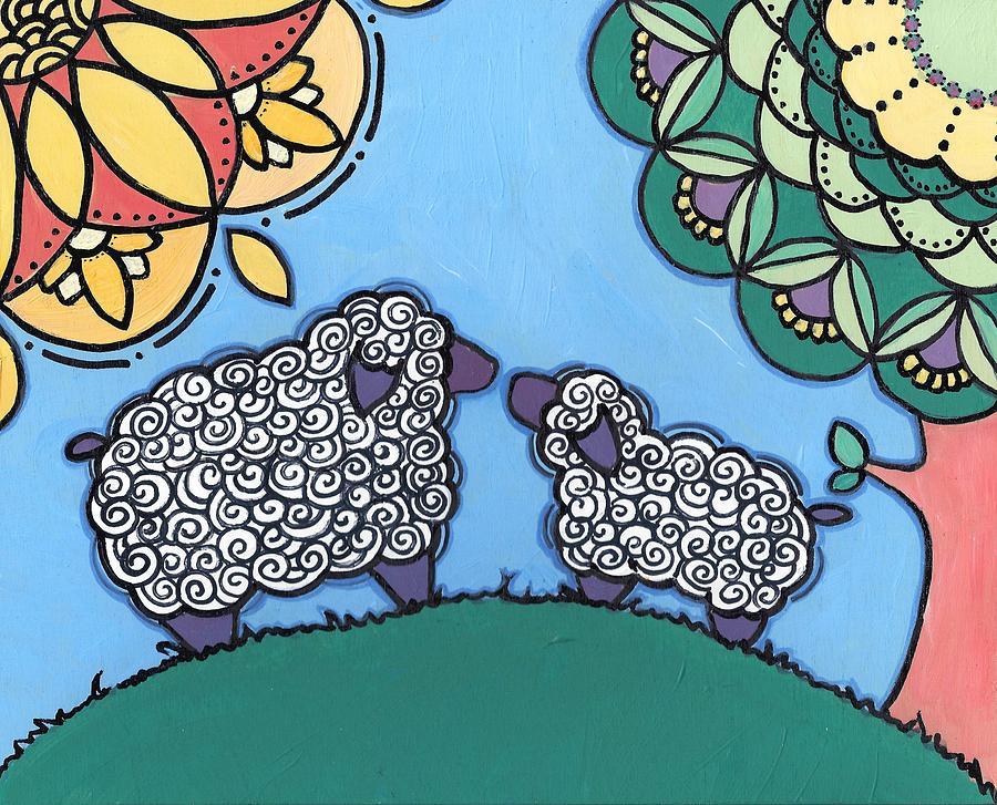Caroline Painting - Lamb and Mama Sheep by Caroline Sainis