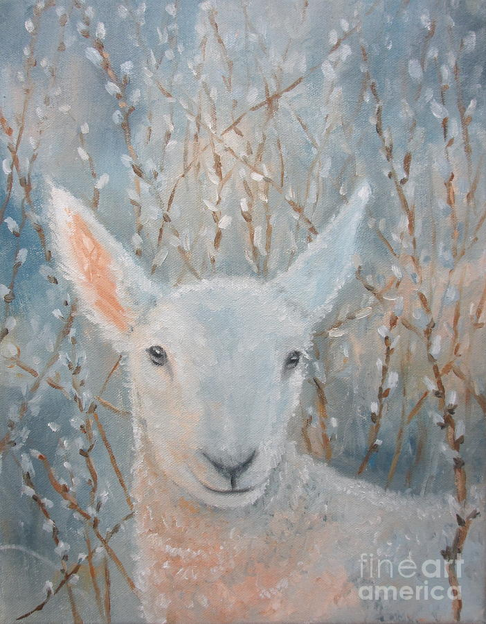 Lamb Painting - Lamb In The Willows by Sherri Anderson