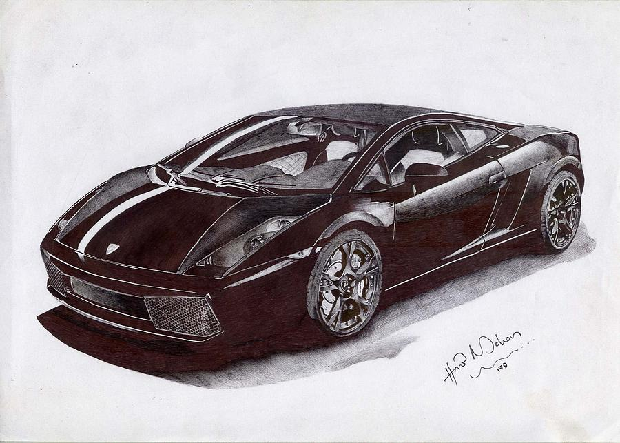 Car Drawing - Lambhorgini Gallardo by Hari Mohan