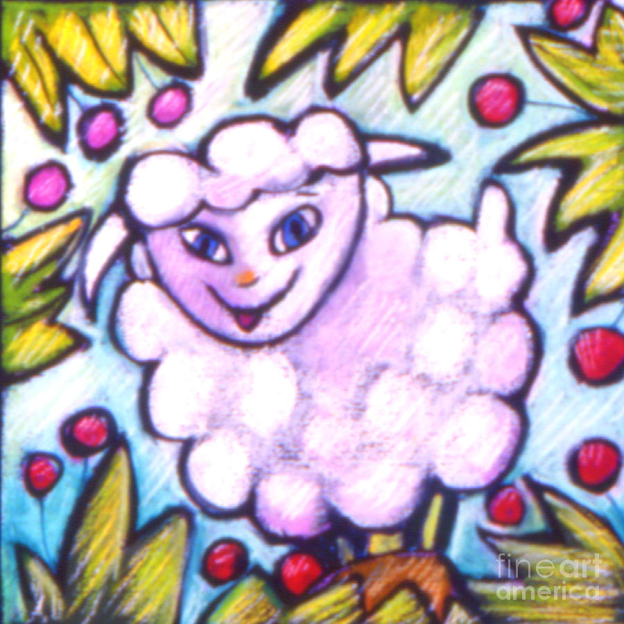 Lamb Painting - Lambie by Angelina Marino
