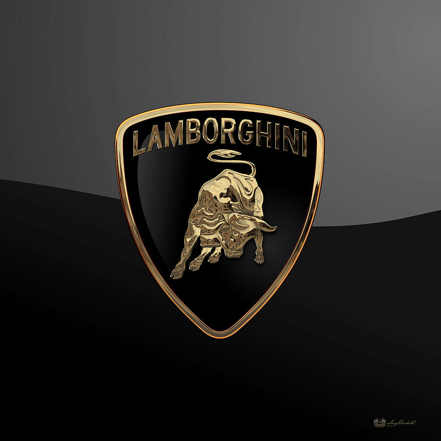 Lamborghini Badge On Black Digital Art By Serge Averbukh