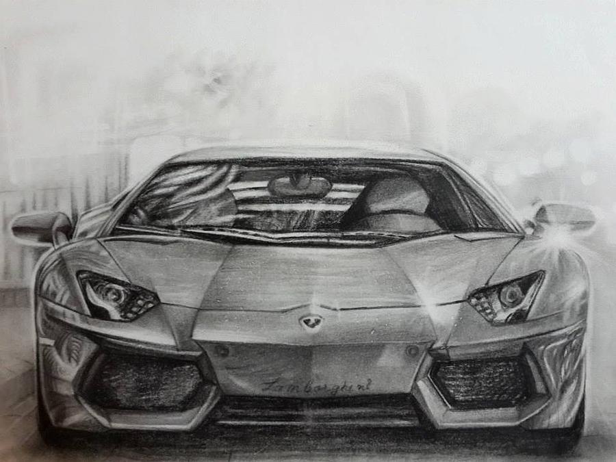 Lamborghini Aventador Drawing By Monomoy Das