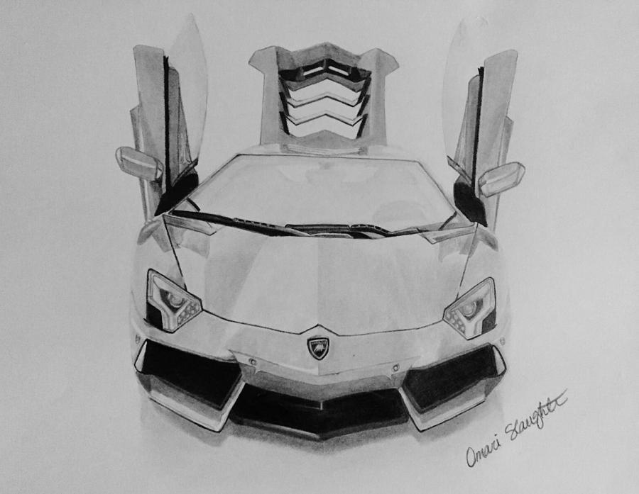 Lamborghini Aventador Drawing By Omari Slaughter