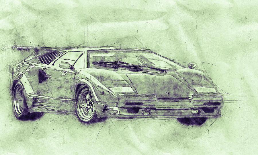 Lamborghini Countach 3 - Sports Car - Automotive Art - Car Posters Mixed Media