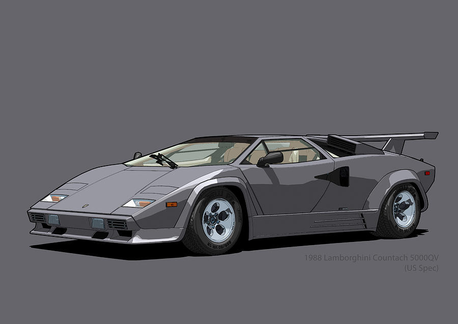 Lamborghini Countach 5000qv Canna Di Fucile Us Spec Digital Art By