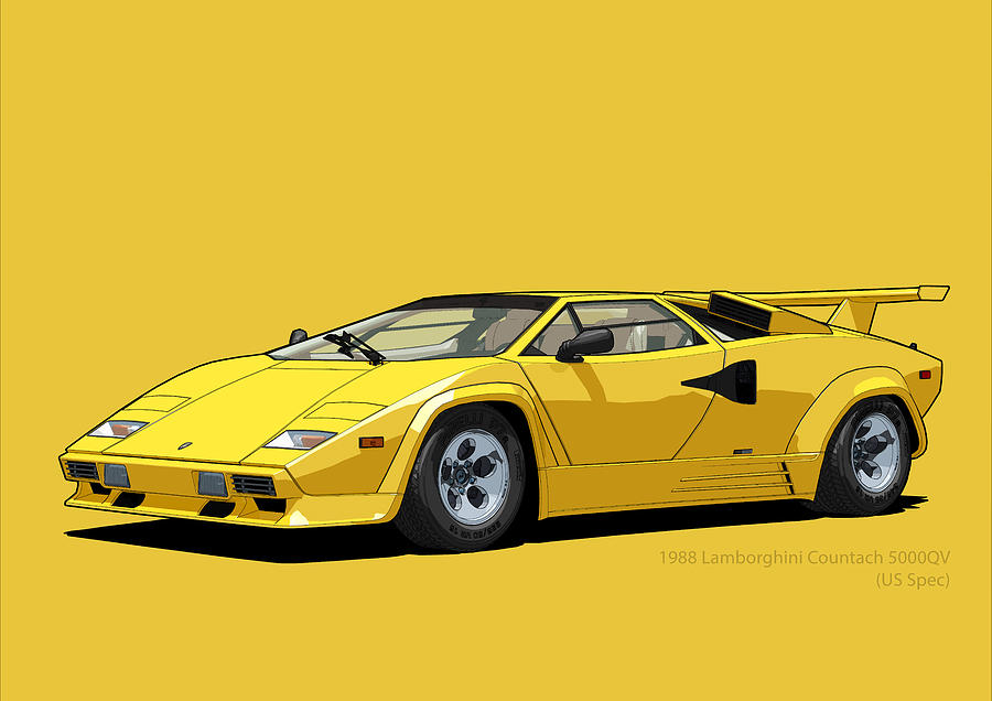 Lamborghini Countach 5000qv Oro Sahara Us Spec Digital Art By