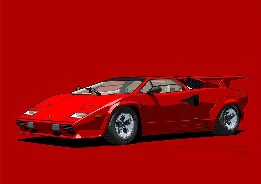 Lamborghini Countach 5000qv Rosso Siviglia Us Spec Digital