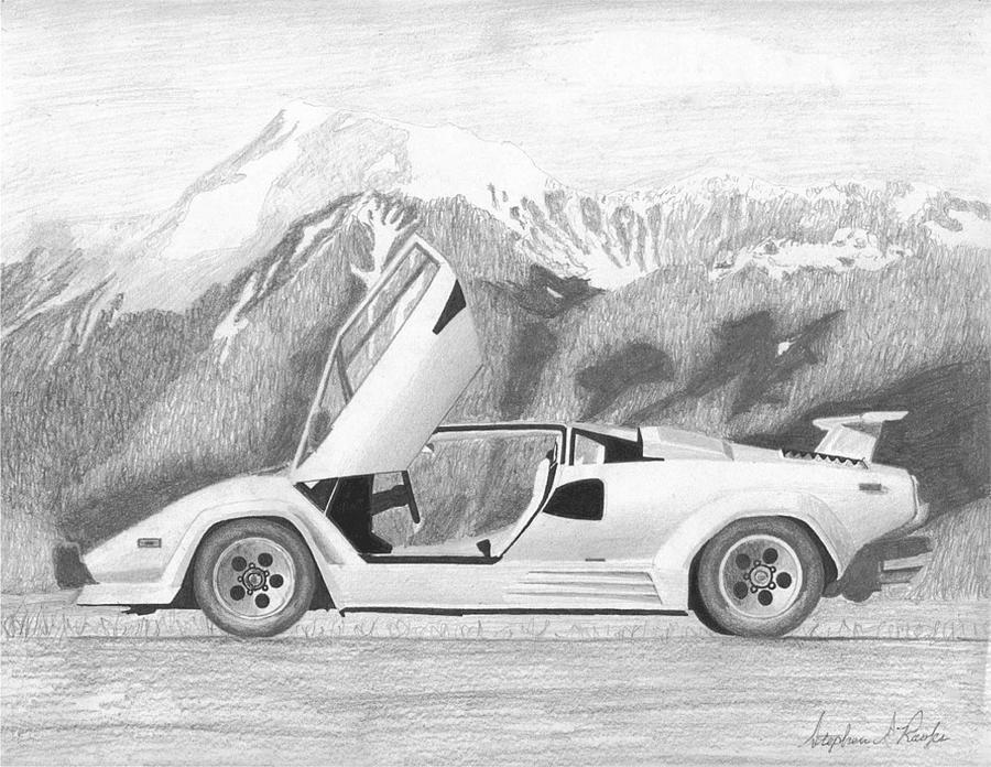 An41 Lamborghini Car Exotic White Art: Lamborghini Countach 5000s Exotic Car Art Print Mixed