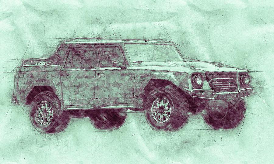 Lamborghini Lm002 - Sport Utility Vehicle 3 - 1986 - Automotive Art - Car Posters Mixed Media